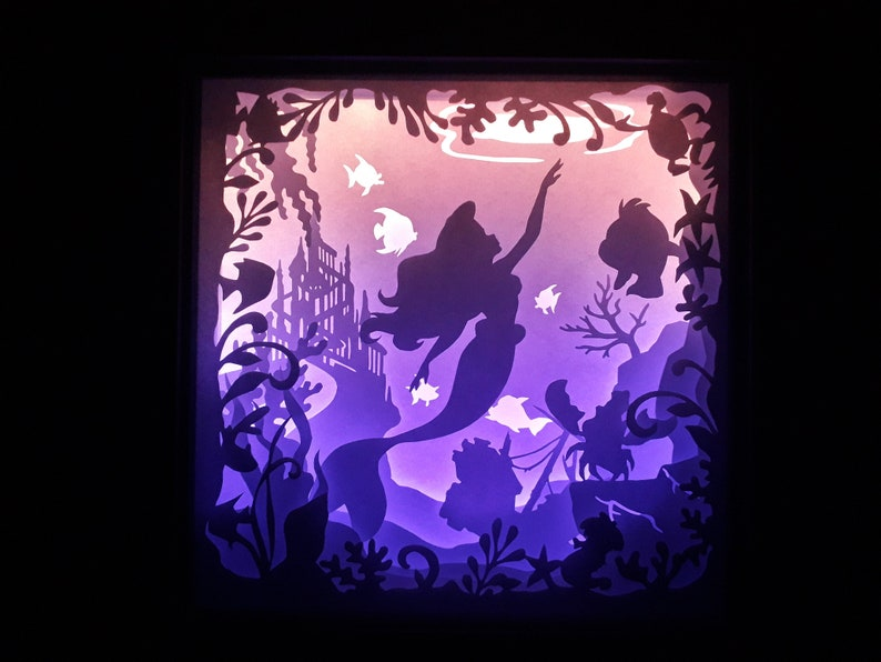 little mermaid 2 9x9 inch paper cutting light box