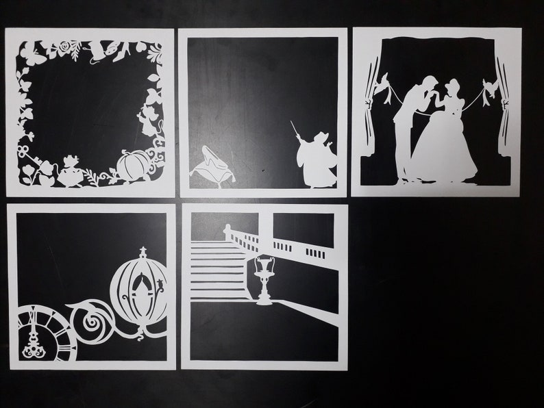 Cinderella 9x9 inch Paper Cutting Light Box Template files | Etsy