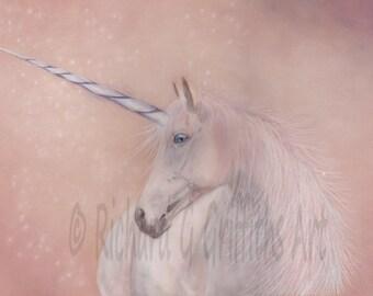 A4 Unicorn Print from Original Unmounted.