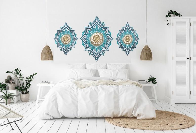 Wall Decor Set, Wood Décor, Bedroom Wall Decor, Set of 3 Wall Art,  Geometric Decor, Boho Wall Decor, Bohemian Art, Wood Mandala, Yoga Decor