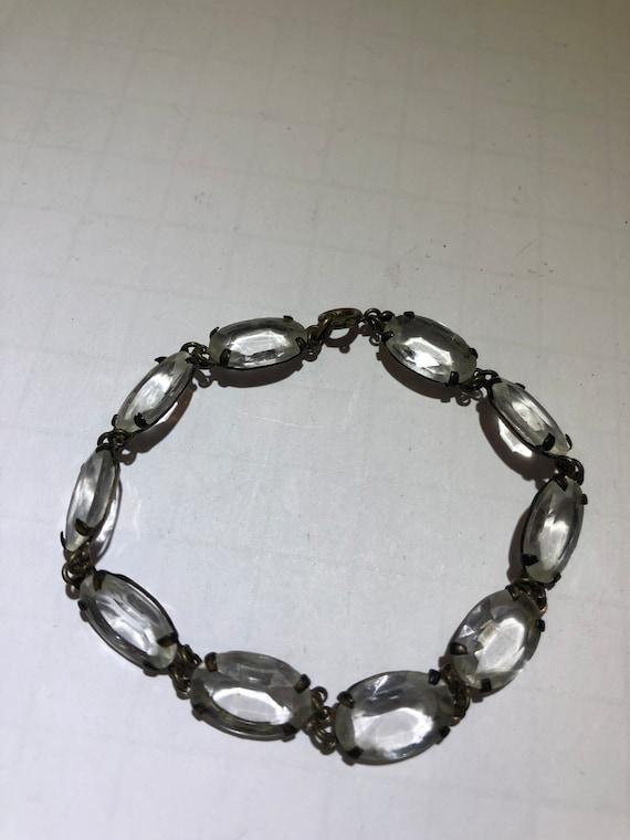 Vintage antique early silver glass crystal bracele