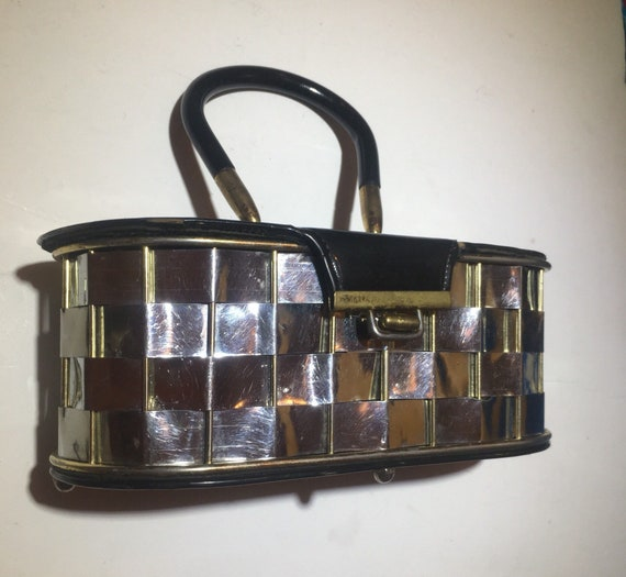 Vintage Metallic basket woven Box Purse Bag
