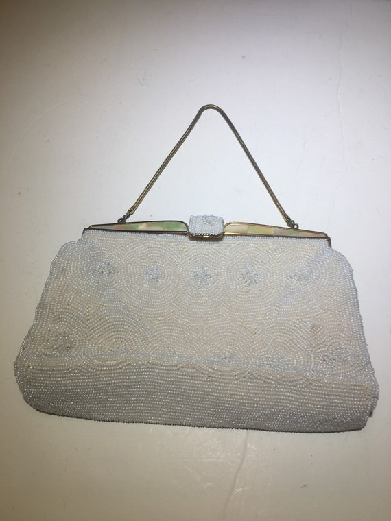 vintage white beaded Abalone Shell Purse handbag p