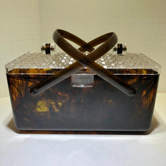 Vintage Lucite top handle purse bag