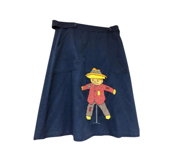 Vintage blue button scarecrow skirt - image 1