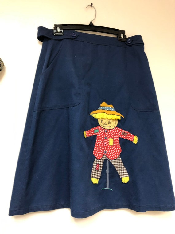Vintage blue button scarecrow skirt - image 10