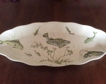 Vintage Waverly Melamine Fish Platter Large