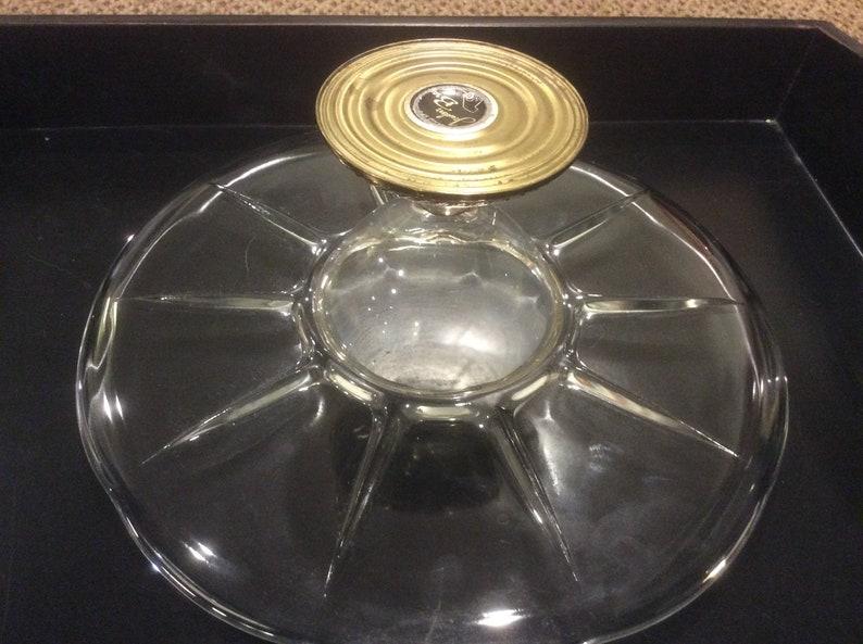 Vintage Crystal and Gold Cake Dessert Stand