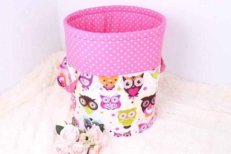 Basket for toys pink owl Toy storage Storage basket Baby shower gift Baby shower basket Personalized basket Children Room basket Handmade