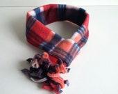 Dog Scarf Red Plaid Fleece. Winter cat  fleece scarf. Warm pet accessory. Сhristmas dog scarf.  Winter gift for pet.