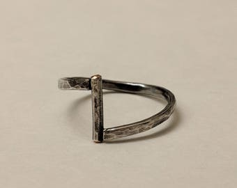 Oxidezed Hammered Silver Ring