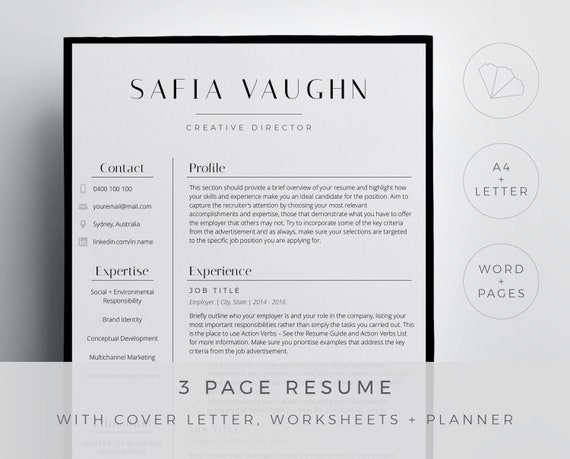 Fashion resume template for Word and Pages in a chic and stylish design. 3  page resume, cover letter, references and guides digital download