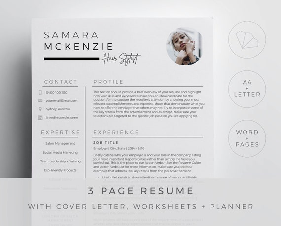 Hair Stylist Resume Template For Word And Pages In A Modern Chic Design 3 Page Resume Cover Letter References And Guides Downloadable