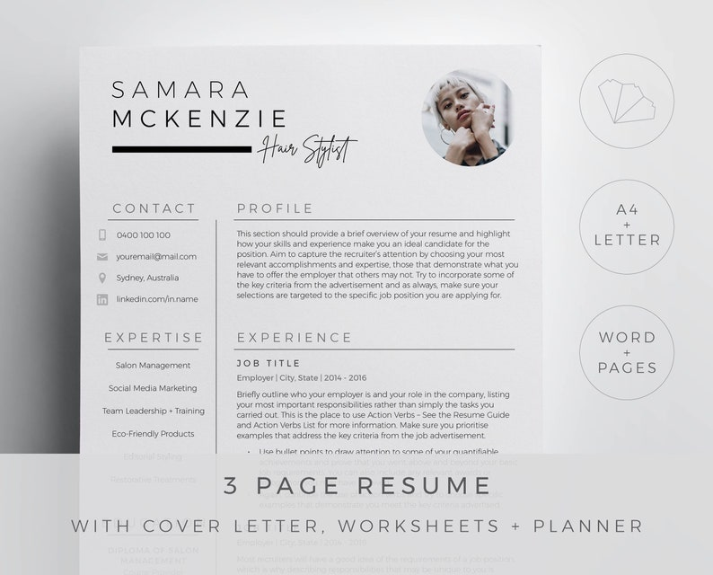 Hair stylist resume template for Word and Pages in a modern chic design. 3  page resume, cover letter, references and guides. Downloadable