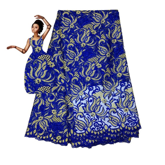 2018 Last Design Africa Lace Fabric Nigeria Lace Fabric Africa Embroidery Lace Fabric For Wedding Dress High Qualityroyal Blue