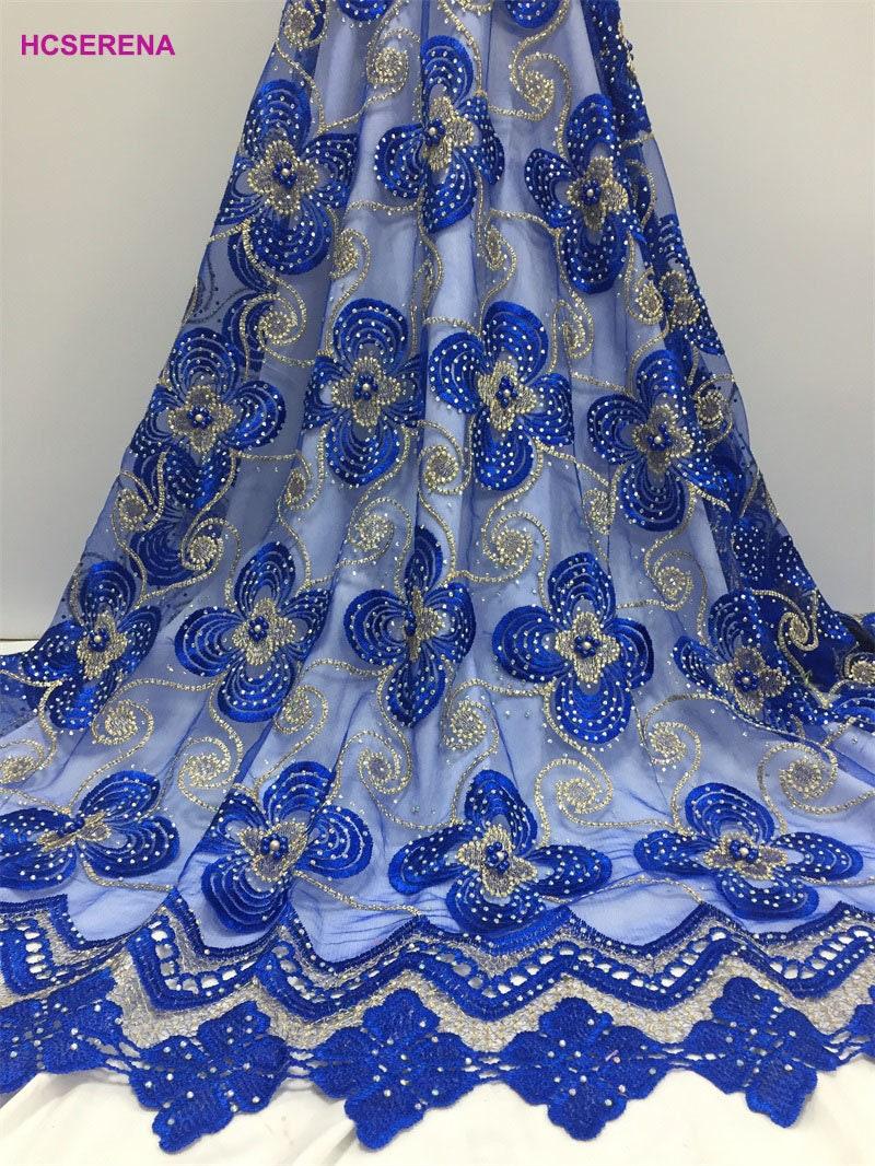 Enfin, design, haute qualité de gros Afrique dentelle tissu tissu tissu 2018, Nigeria dentelle tissu pour la robe de couture, de haute qualité, gratuit livraison 5y/lot bleu 4b1cf6
