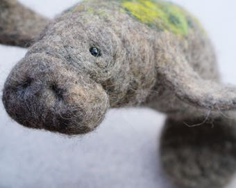 Roberta - Manatee, needle felted animal , needle felted manatee , wool sculpture, faux taxidermy