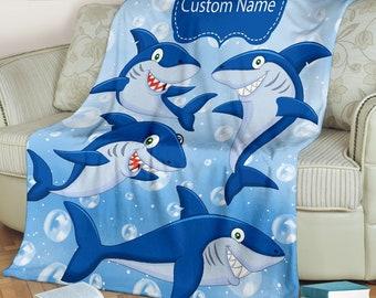 Personalized Shark And Bubbles Blanket For Shark Lovers, Custom Name Micro Fleece Blanket, Child & Adult Blanket, Warm Boys Throw Blanket