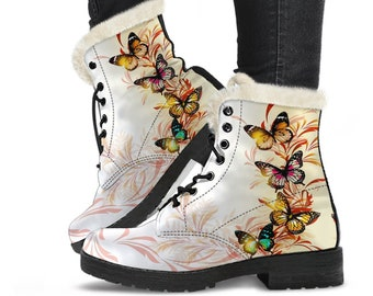 Custom Leather Boots Lace Up Boots Vegan Leather Handmade Boots Women Girl Gift Mandala Ankle Boots Hippie Boots Alchemy Butterfly