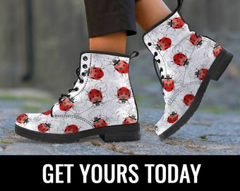 Ladybug Women Boots Booties, Red Ladybird Boots, Ladybug Shoes Art, Ladybug Lover Gift, Ladybug Pattern, Miraculous Women's Boots