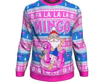 8dcf60de6 Funny Santa Flamingo Christmas Ugly Sweatshirt, Flamingo Lover Gift, Funny  Santa Fa La La La Mingo X-mas Sweater, Flamingo Festive Xmas Gift
