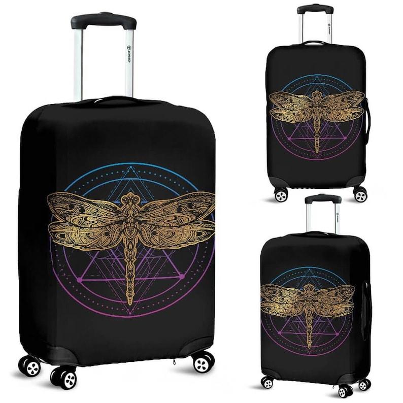 Dragonflies Fabric Luggage Cover Decor Dragonfly Luggage Suitcase Cover Luggage Protector Dragonfly Gift Item Custom Luggage Wrap
