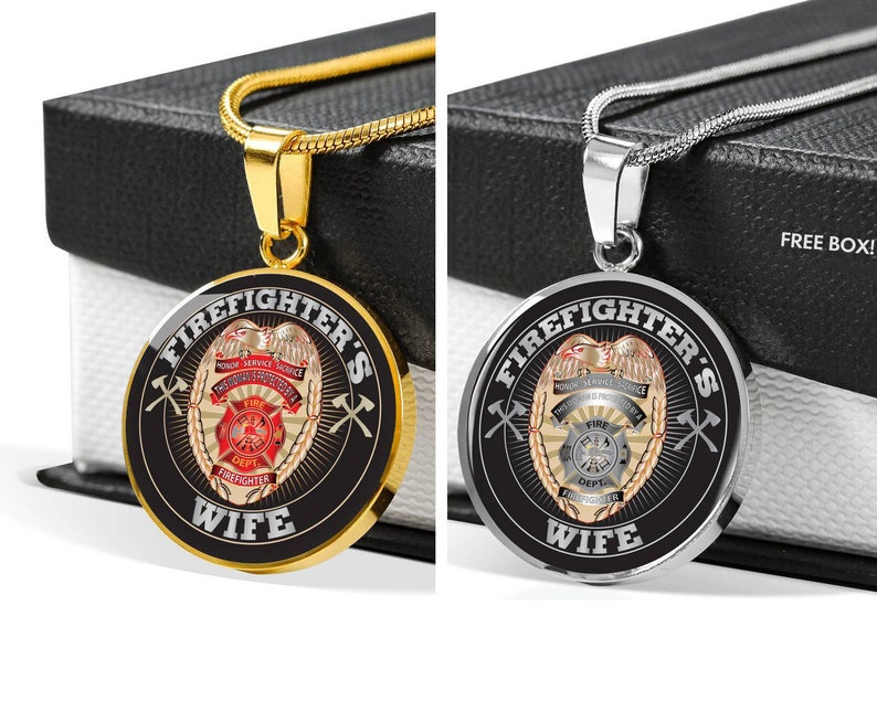 6b1b2589be246 Personalized Luxury Firefighter Wife Pendant Necklace, Fire Fighter Wife  Gift, Love My Firefighter, Firefighter Badge, Fire Badge Jewelry