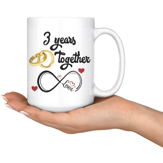 Third Wedding Anniversary.Third Wedding Anniversary Gift For Him And Her 3rd Anniversary Mug For Husband Wife Married 3 Years 3 Years Together 3 Years With Her