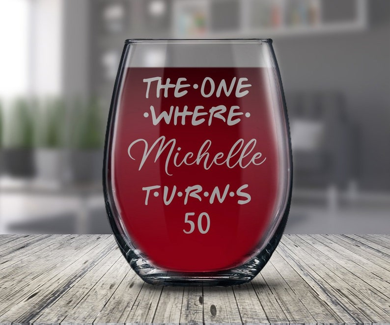 Personalized 50th Birthday Glass Gift For Women And Men Happy