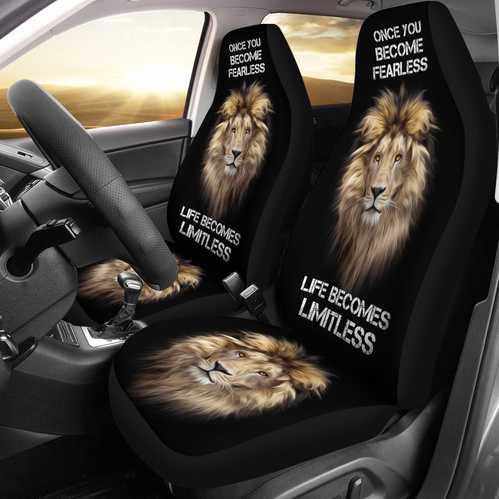 Fearless Lion Inspirational Quotes Car Seat Covers Lion Lover Etsy