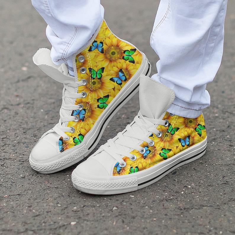 1faccf4eb384 Sunflower Butterfly Shoes Art Footwear Butterflies