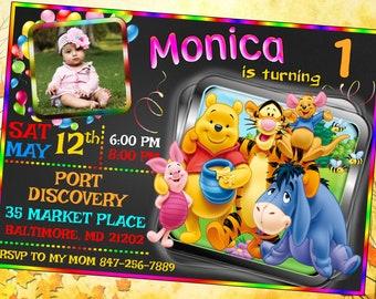 Winnie The Pooh Invitation, Winnie The Pooh Invite, Winnie The Pooh Birthday, Winnie Party, Winnie Dory Birthday Invitation, Winnie The Pooh