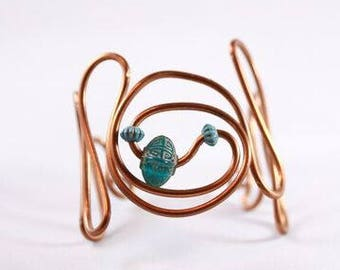 Copper and Blue Bead Wire Wrapped Bracer