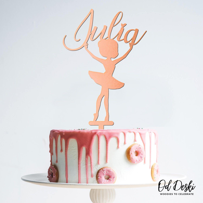 Ballerina Dancer Birthday Wooden Cake Topper Happy Birthday