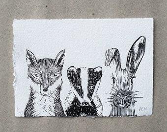 Wildlife Linocut print - fox, badger, rabbit - a handmade & original limited edition Lino print