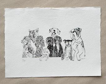 Dogs Linocut print- The Gang - a handmade & original limited edition Lino print