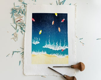 Original Linocut print of surfboards in the sea - reduction print - A4 A5