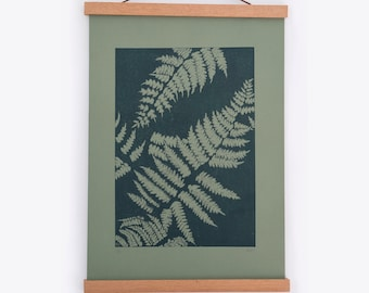 Original Linocut print ferns - green - A3 A4