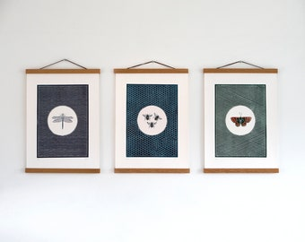 Set of 3 Wildlife Linocut Print - A3 Print Detail - An original, Limited Edition Lino cut print
