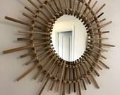 Large rattan starburst round mirror
