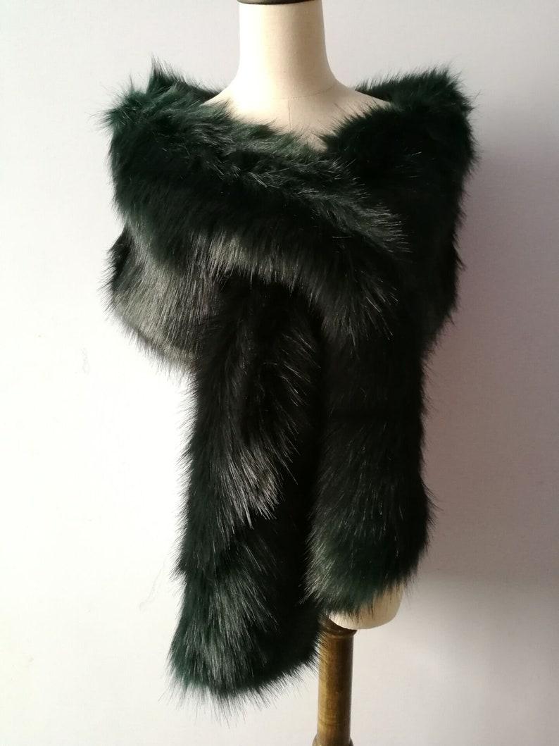 Deep Green faux fur bridal shawl wrap Wedding Fur shrug Fur