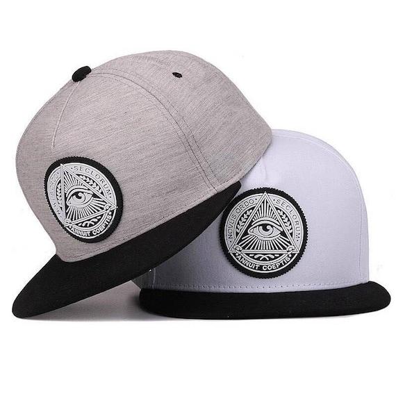 Illuminati Snapback Peak adjustable Cap hipster Twill Grey  8c5104af625