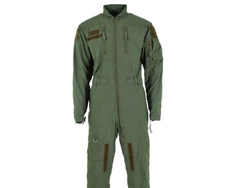 80s Green Flightsuit Mens 42R Work Coverall Long Sleeve Adjustable Pockets