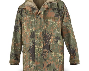 45fbe695b7f27 Original German army field Jacket GoreTex Flecktarn waterproof rain gear  parka military surplus