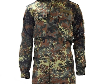 4f53710f58f6c Original German army field jacket parka military issue hooded Flecktarn  combat vintage surplus coat