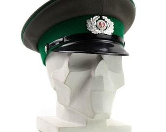 884173d3117 Original German NVA army visor hat. Grey East German military peaked cap  Green