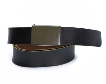 Genuine German army military black leather belt German w green buckle