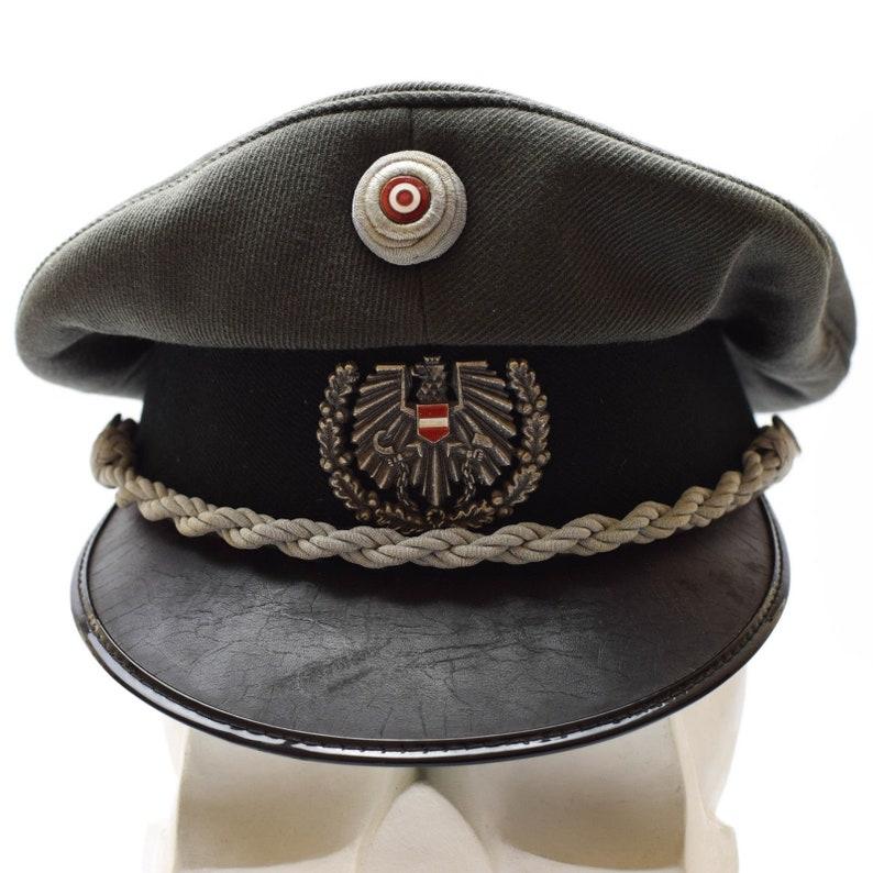 615c74bbf78 Genuine Austrian army visor cap peaked hat w badge cockade