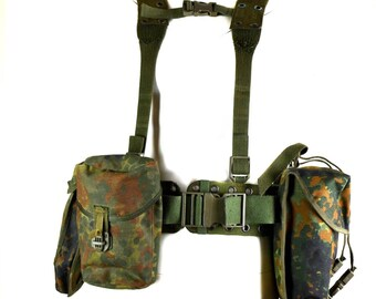 Original German army Webbing rig system 6 pieces tactical belt suspenders pouch