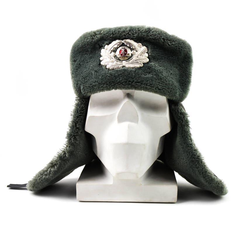 bf4b7428bf0 Original East German NVA army winter hat. Grey military